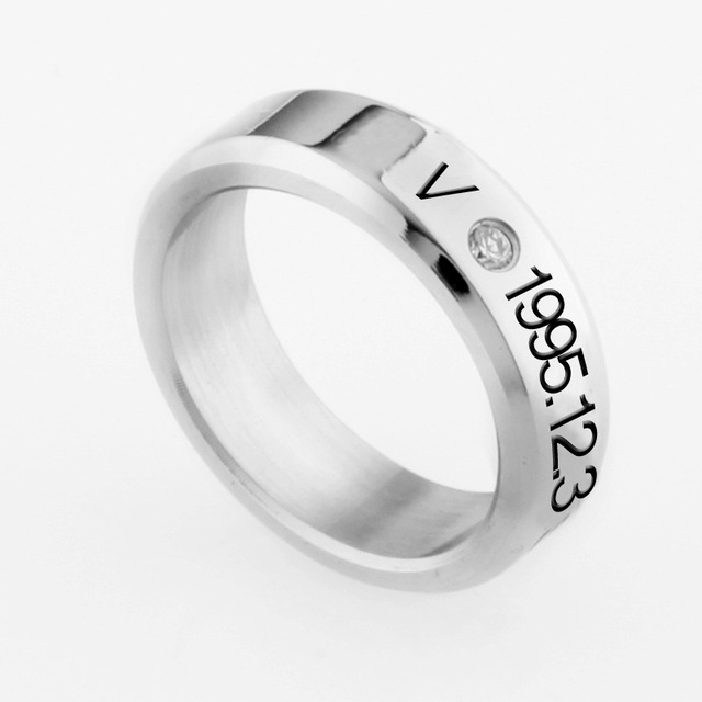 K Pop Bts Titanium Crystal Ring With String 7 Types