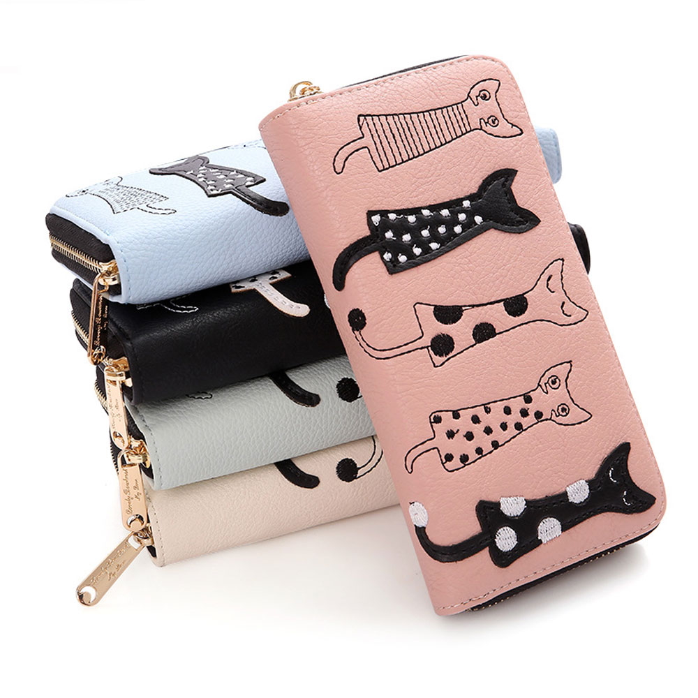 cat embroidery bifold clutch wallet 5 colors korean fashion for you