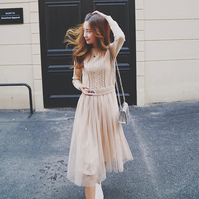 7650dbac951a Winter Knit Pullover Tulle Dress (3 Colors) – Korean Fashion for you!