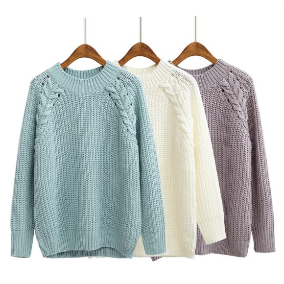 24d552c4cc Braided Loose Knit Pullover Sweater (3 Colors) – Korean Fashion for you!